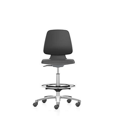 bimos Arbeitsdrehstuhl, Hochstuhl mit Sitz-Stopp-Rollen und Fußring Sitz mit Stoffbezug, anthrazit