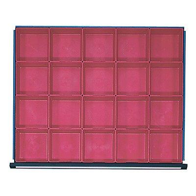 Kunststoff-Kleinteilekasten mit 20 Mulden, für Schrankbreite 910 mm für Schubladenhöhe 60 mm