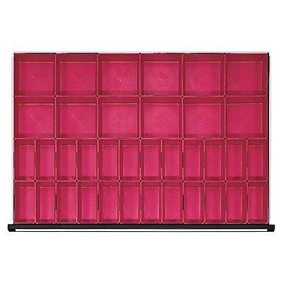 Kunststoff-Kleinteilekasten mit 40 Mulden, für Schrankbreite 1060 mm für Schubladenhöhe 60 mm