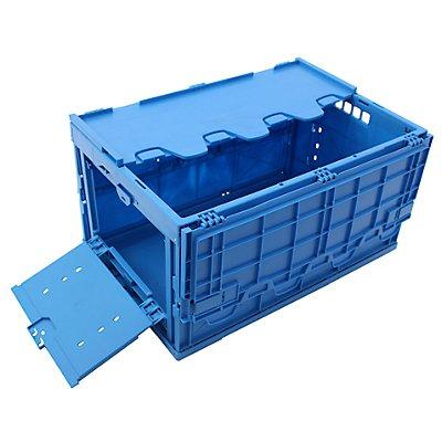 Faltbox aus Polypropylen, Inhalt 65 l, geschlossen mit stirnseitiger Entnahmeklappe blau, mit anscharniertem Deckel, stapelbar