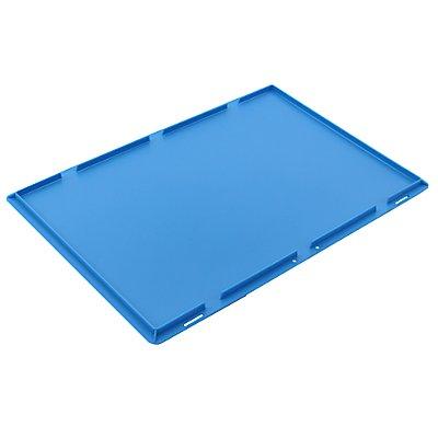 Auflagedeckel für Faltbox, blau, LxB 600 x 400 mm ohne Verriegelung