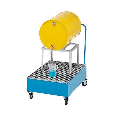 QUIPO Fahrbare Auffangwanne aus Stahlblech, LxB 1200 x 800 mm, 1 x 200-l-Fass liegend