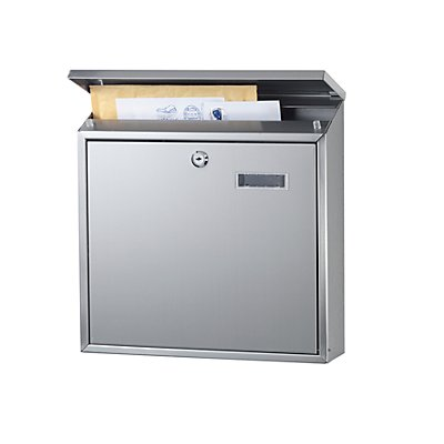 Briefkasten, mit klappbarem Schrägdach, Edelstahl, Edelstahl