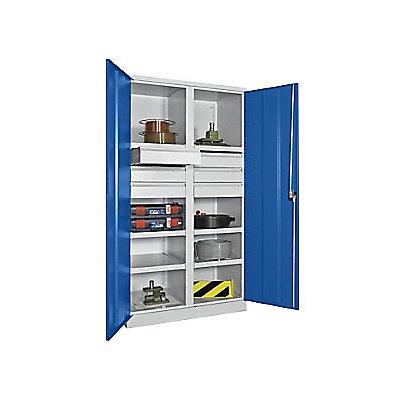 Schwerlastschrank, Höhe 1950 mm - 6 Fachböden, 6 Schubladen à 175 mm - grau/blau