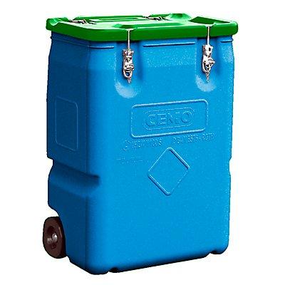 CEMO Gefahrstoff-Sammelbehälter mit 2 Rädern, Inhalt 250 l Deckel grün