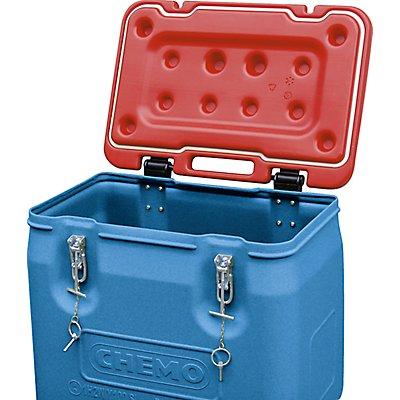 CEMO Gefahrstoff-Sammelbehälter mit 2 Rädern - Inhalt 250 l, Deckel rot