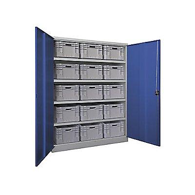 Schwerlastschrank, extrabreit - Höhe x Breite x Tiefe 1950 x 1470 x 630 mm, 4 Fachböden - grau