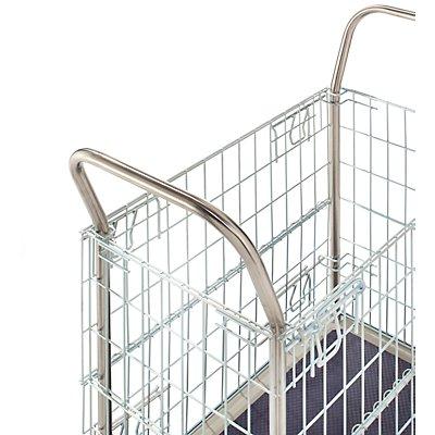 Gitterwagen, verzinkte Seitengitter - mit Edelstahl-Schiebebügeln