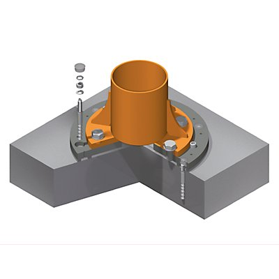 Verbundanker-System, Platten-Ø 630 mm, für PRAKTIKUS, Ausladung 3 m Tragfähigkeit 500 kg