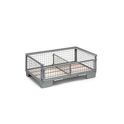 DIPPL Gitterbox, niedrige Bauform - 1 Längswand voll abklappbar