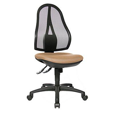 Topstar Bürodrehstuhl, Punktsynchron-Mechanik und Bandscheibensitz - ohne Armlehnen, Netzrückenlehne schwarz