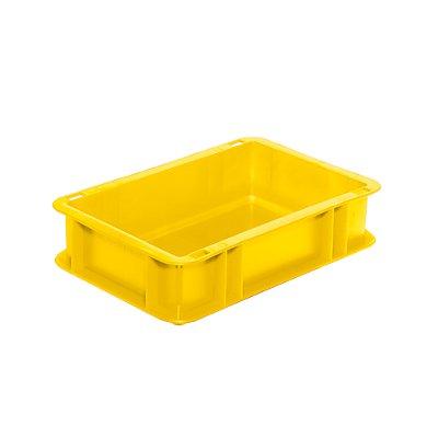 Euro-Format-Stapelbehälter, Wände und Boden geschlossen - LxBxH 300 x 200 x 75 mm - gelb, VE 5 Stk