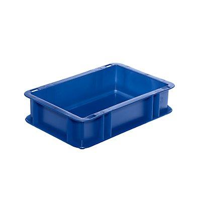 Euro-Format-Stapelbehälter, Wände und Boden geschlossen - LxBxH 300 x 200 x 75 mm - blau, VE 5 Stk