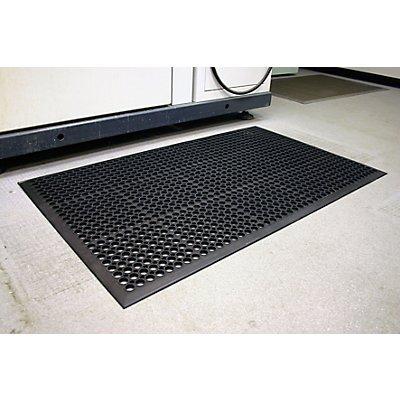 Tapis de sol perforé - L x l x h 1500 x 900 x 14 mm - caoutchouc noir