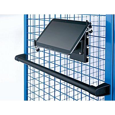 EUROKRAFT Premium-Tablethalter - mit Gitterbefestigung - für Tablet-Größe 7-14″