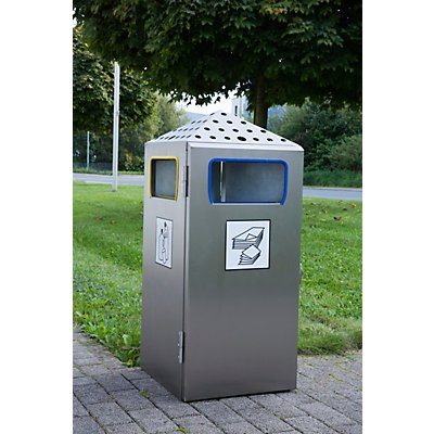 Abfalltrenner mit Ascher, Volumen 4 x 18 l, BxHxT 396 x 919 x425 mm Edelstahl
