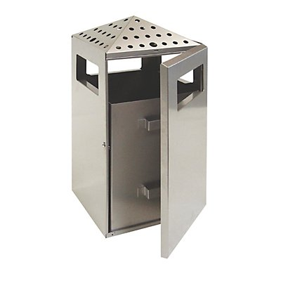 Abfalltrenner mit Ascher, Volumen 75 l, BxHxT 400 x 970 x 425 mm Stahlblech