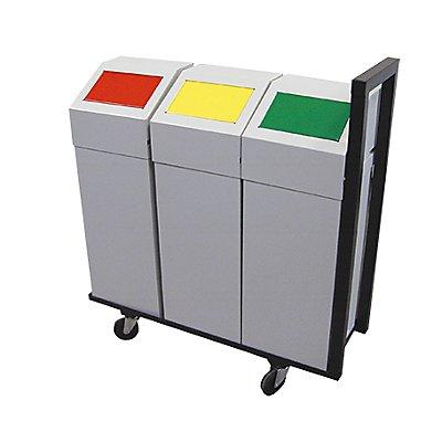 Abfalltrennstation 3er-Set, Volumen 50 l, BxHxT 950 x 1000 x 315 mm mit 3 Behältern