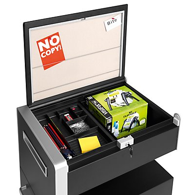 Bisley Assistenzmöbel Bite® - linksseitig öffnend, Pinnwand, 2 Universalschubladen, 1 HR-Schublade