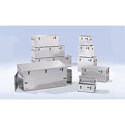 Caisse de transport en tôle striée d'aluminium - capacité 70 l - L x l x h 522 x 375 x 420 mm