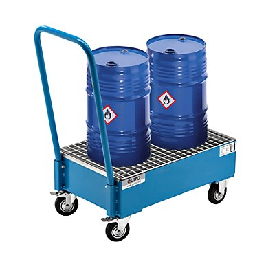 QUIPO Fahrbare Auffangwanne aus Stahlblech, LxB 800 x 500 mm, 2 x 60-l-Fass stehend