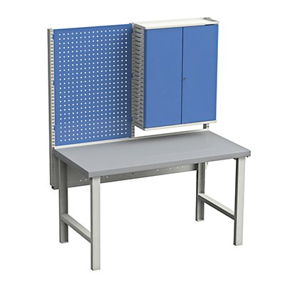 TRESTON Werkbank - mit 1 Lochplatte und Werkzeugschrank - Stahlblech-Platte, BxT 1500 x 750 mm