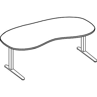 office akktiv ANNY Schreibtisch mit C-Fußgestell, nierenförmig, Breite 2000 mm