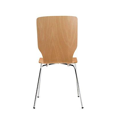 Holz-Schalenstuhl, Rundrohr, HxBxT 850 x 400 x 520 mm, VE 4 Stk Sitzschale Buche natur