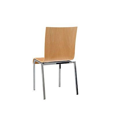 Holz-Schalenstuhl, Vierkantrohr, HxBxT 860 x 450 x 520 mm, VE 4 Stk Sitzschale Buche natur