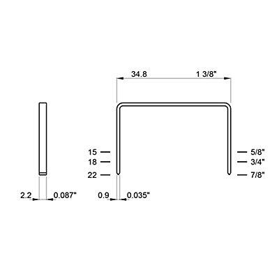 Heftklammern, verkupfert, Schenkellänge 15 mm, VE 20000 Stk Rückenbreite 35 mm