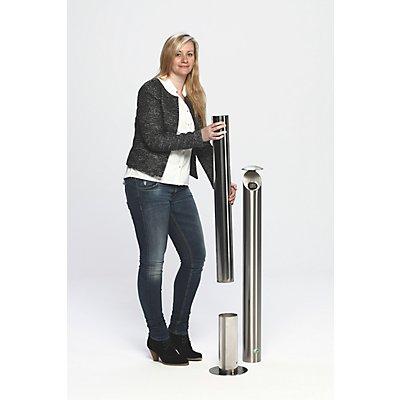 VAR Edelstahl-Standascher, abschließbar - Höhe 1000 mm, Ø 200 mm
