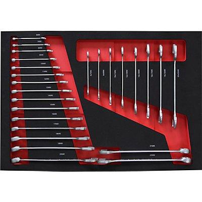 Werkzeug-Shadowboards - Ring-/ Gabelschlüssel-Satz, für BxT 536 x 410 mm - 25-teilig