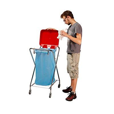 Hygiene-Abfallsammler, Halterrahmen quadratisch rot, Höhe 1030 mm
