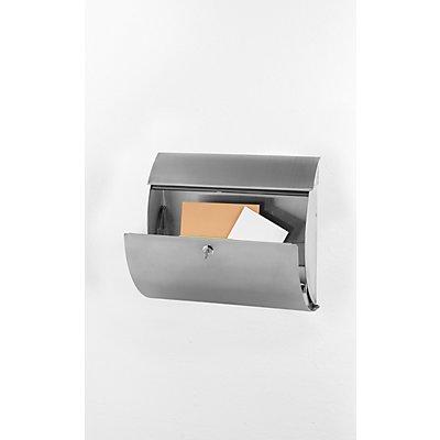 Briefkasten, abgerundet, HxBxT 327 x 375 x 117 mm, Edelstahl