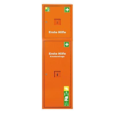 Rettungssäule nach DIN 13169 - signalorange, HxBxT 1680 x 490 x 200 mm - mit Füllung und Erste-Hilfe-Koffer