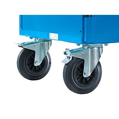 EUROKRAFT Schrankwagen, LxBxH 1150 x 740 x 1785 mm - pulverbeschichtet lichtblau RAL 5012 - Tragfähigkeit 500 kg