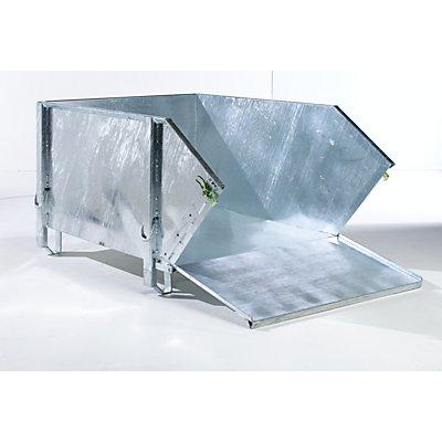 BAUER Stahlblechbehälter - Volumen 1 m³, mit klappbarer Schüttklappe
