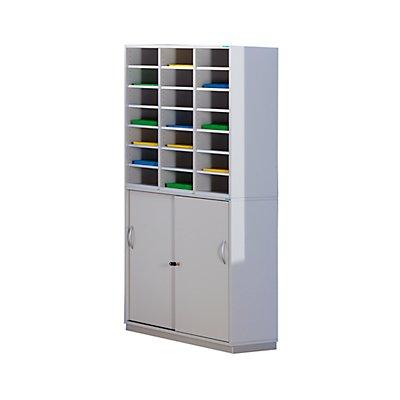 office akktiv Sortierschrank mit Unterschrank - HxBxT 1864 x 913 x 420 mm, 21 Fächer - lichtgrau