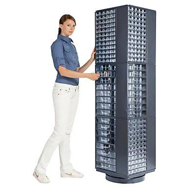 Drehständer für Schubladenmagazine - HxBxT 1800 x 460 x 460 mm, 3 Etagen - für Magazinformat 551 x 306 x 155 mm