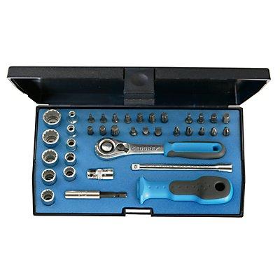 GEDORE Jeu de clés à douilles - 1/4″, dans un bac en plastique - 37 éléments