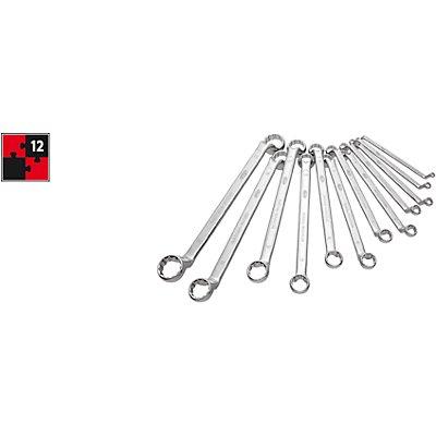 VIGOR Jeu de clés polygonales doubles - 12 éléments - clés chromées, polies, conformes à la norme DIN838