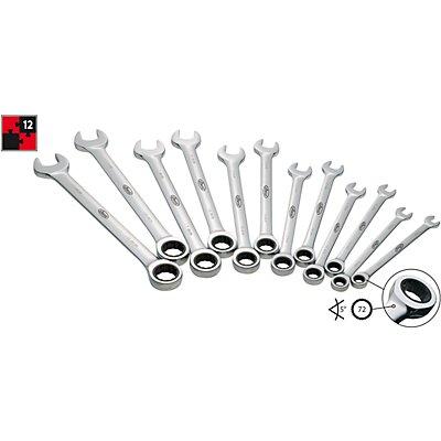 VIGOR Ratschen-Ringmaulschlüsselsatz - lange Bauform - 12-teilig, mit Rolltasche