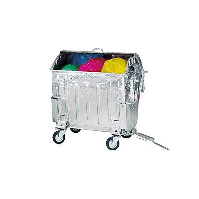 Müllgroßbehälter, verzinkt - mit Deichsel, Anhängerkupplung, Kindersicherung