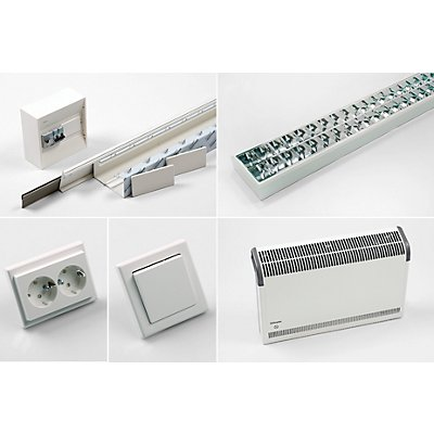 Elektroinstallation-Basispaket inkl. elektrischer Wandheizung, mit Bildschirmarbeitsplatzleuchte Leuchte 2 x 58 Watt, Steckdose, Elektro-Wandkonvektor
