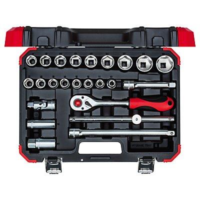 Jeu de clés à douilles - 1/2″ - 24éléments dans un coffret en plastique