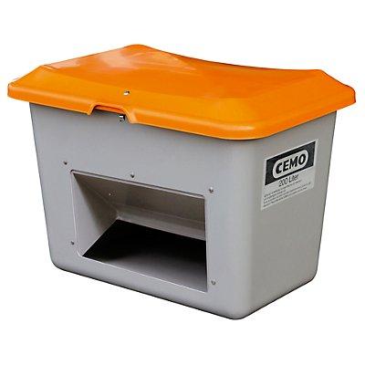 CEMO Streugutbehälter GfK - Volumen 200 l, mit Entnahmeöffnung