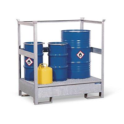Denios EUROKRAFT Fass-Auffangwanne für Transport und Lagerung - Rücken- und Seiten-Stahlrahmen offen, stapelbar