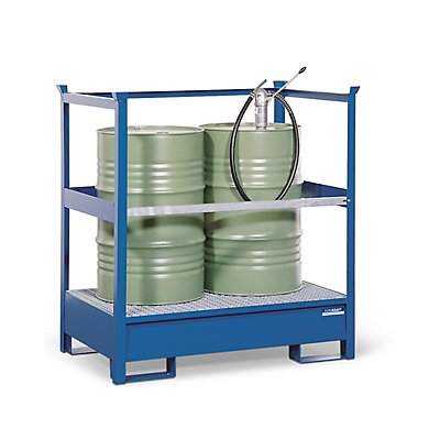 Denios EUROKRAFT Fass-Auffangwanne für Transport und Lagerung - Rücken- und Seiten-Stahlrahmen offen, nicht stapelbar