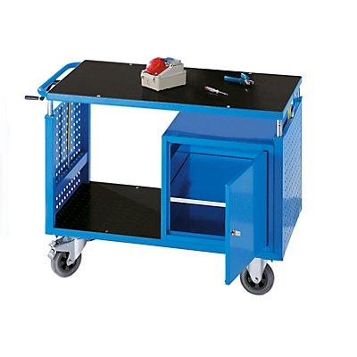 EUROKRAFT Montagewagen, höhenverstellbar - 1 Ablageboden, 1 Schrank mit Fachboden - lichtblau