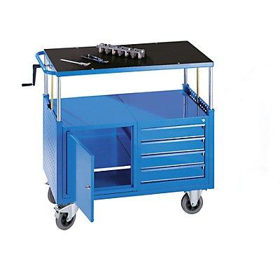 EUROKRAFT Montagewagen, höhenverstellbar - 1 Schrank mit Fachboden, 4 Schubladen - lichtblau